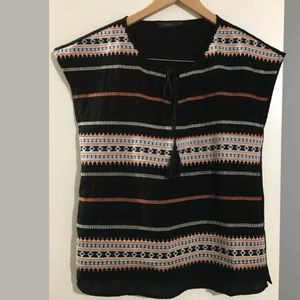 THML embroidered stripe top boho tassels XS